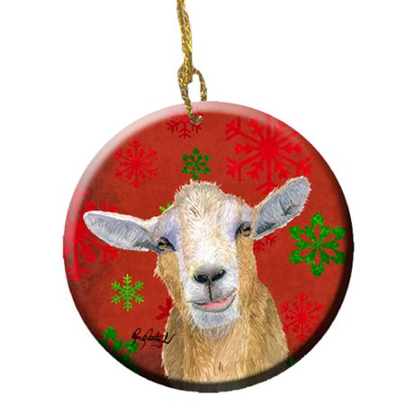Goat Candy Cane Holiday Christmas Ceramic (Goat Ornaments)