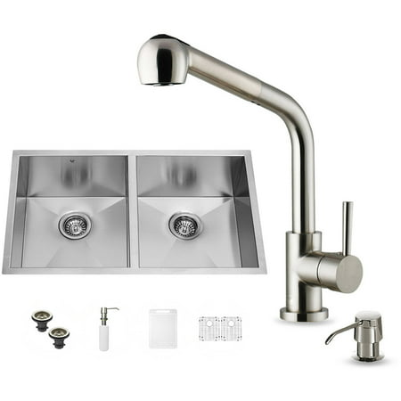 "Vigo All-in-One 32"" Undermount Stainless Steel Double Bowl Kitchen Sink and Faucet Set"