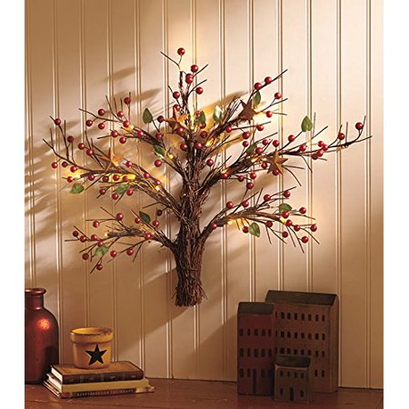 Lighted Battery Operated Country Wall Tree Primitive Decorative Red Berries Christmas Seasonal Decor