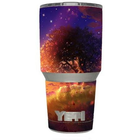 Skin Decal Vinyl Wrap (6-piece kit) for Yeti 30 oz Rambler Tumbler Cup / Beautiful Tree Stars Night ()