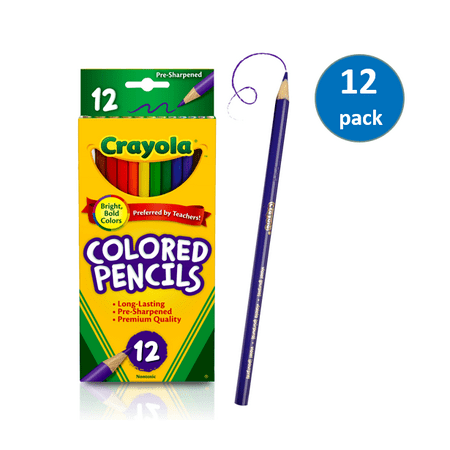 12 Piece Colored Pencils - Crayola 12 Count Colored Pencils, 12 Packs