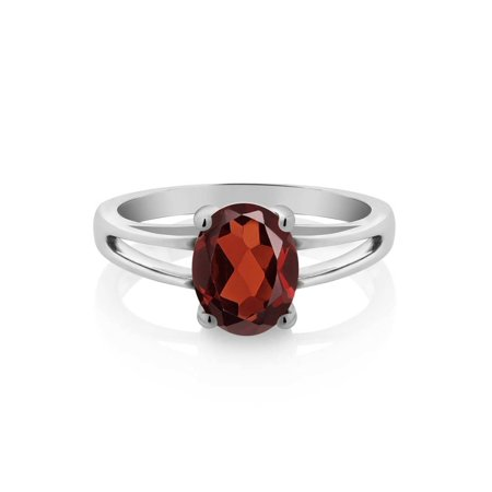 Women's Red Oval Garnet 925 Sterling Silver Solitaire Ring