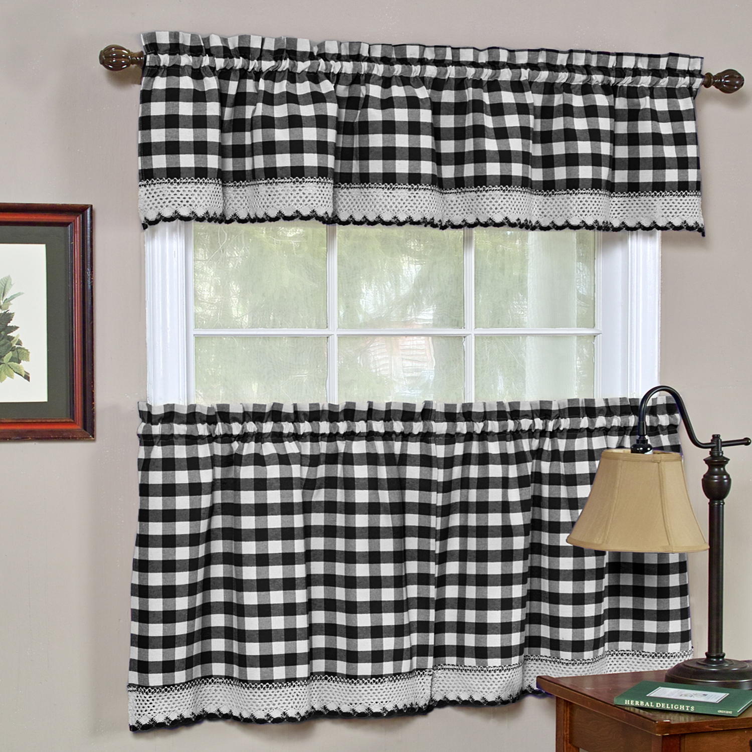 "Buffalo Check Gingham Kitchen Window Curtains 24"" Tier & Valance Set"