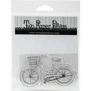 "Two Paper Divas Clear Stamps 6""X4.5""-Vintage Bike"