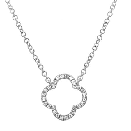 14k White Gold Necklace 0.07 Ct Natural Diamond Open Clover Pendant Necklaces For Women