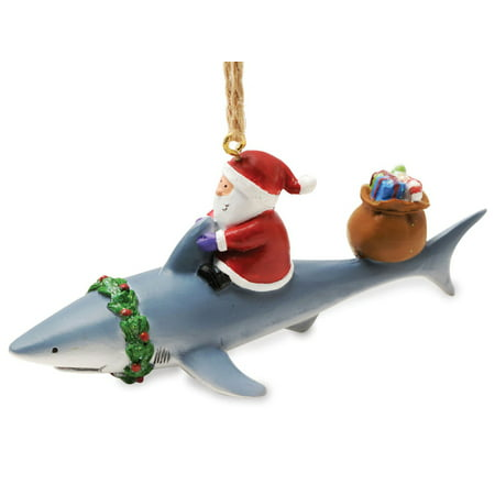 Santa Riding Shark Nautical Fishing Christmas Holiday Ornament Resin - Handprint Santa Ornament