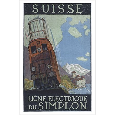 Swiss Electric Railways Du Simplon Vintage Travel Poster Old School 24X36