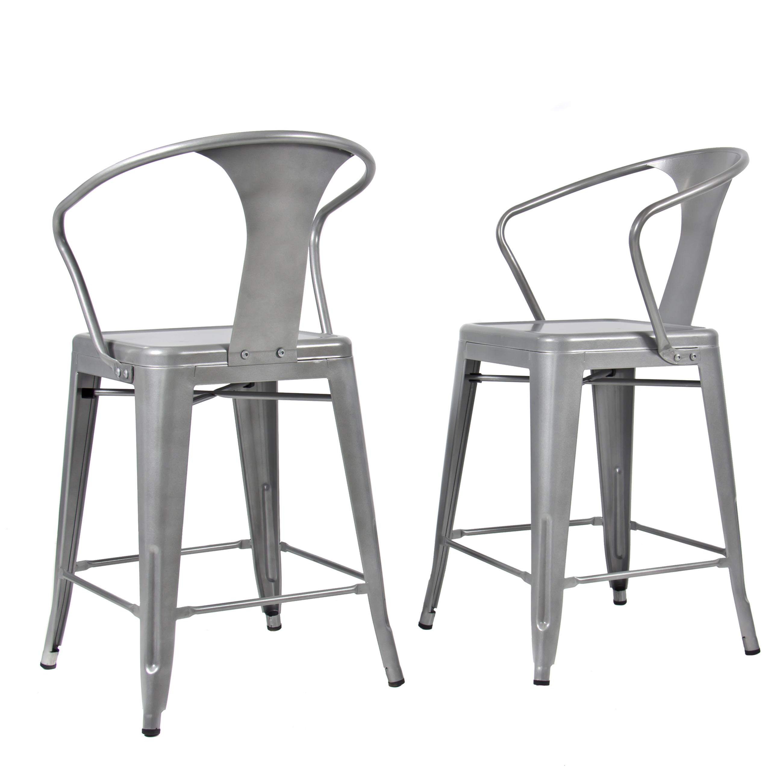 (2) Metal Bar Stools Vintage Antique Style Bar Stool  Arm Chair Silver