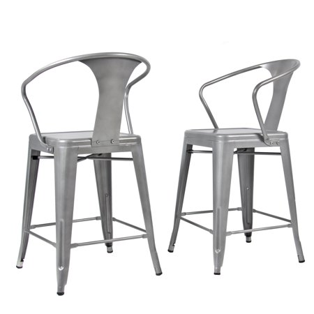 2 Metal Bar Stools Vintage Antique Style Bar Stool Arm Chair Silver