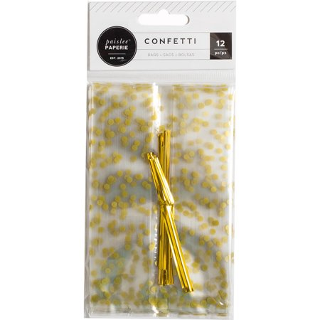 Confetti Cellophane Treat Bags 12/Pkg-W/Gold Accents & Ties for $<!---->