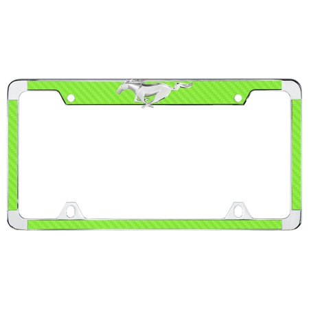Ford 3D Pony Top Green Simulated Carbon Fiber License Plate Frame (Carbon Fiber Top)