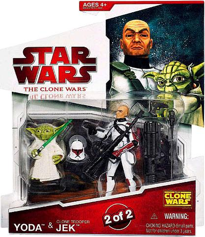 Star Wars Clone Wars 2009 Yoda & Clone Trooper Jek Action Figure 2-Pack
