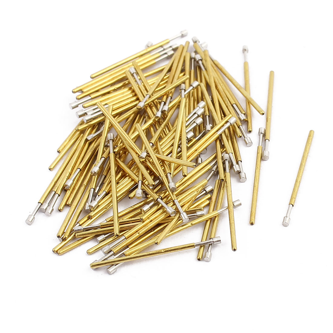100pcs P50-G2 0.68mm Dia 16.5mm Length Metal Spring Pressure Test Probe Needle