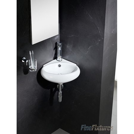 Fine Fixtures Modern Ceramic 17 Corner Bathroom Sink