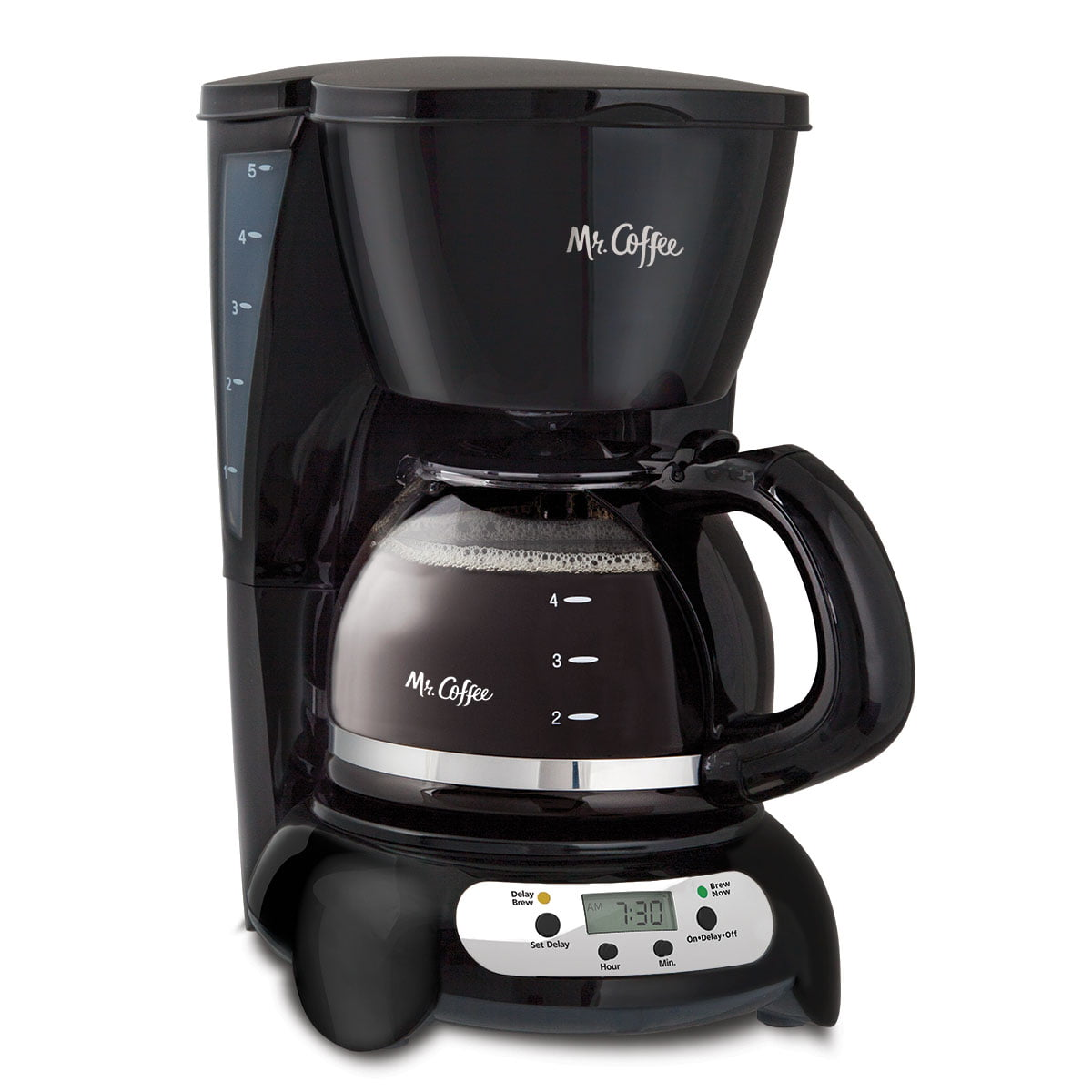 Mr. Coffee 5 Cup Programmable Black & Stainless Steel Drip Coffee Maker