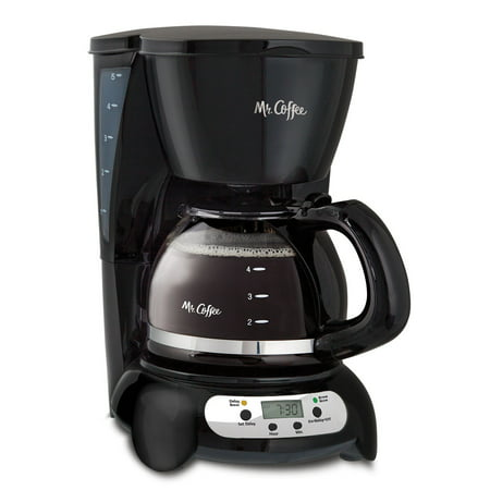 Mr. Coffee 5 Cup Programmable Black & Stainless Steel Drip Coffee Maker (One Cup Filter Coffee Maker)