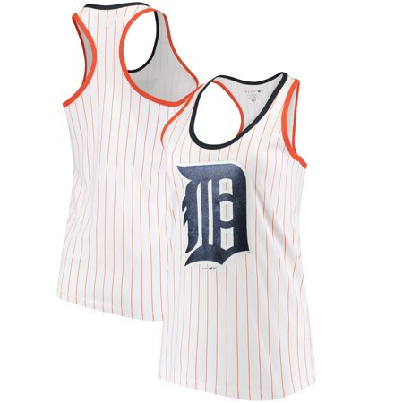 Detroit Tigers 5th & Ocean by New Era Women's Pinstripe Racerback Tank Top - White/Orange