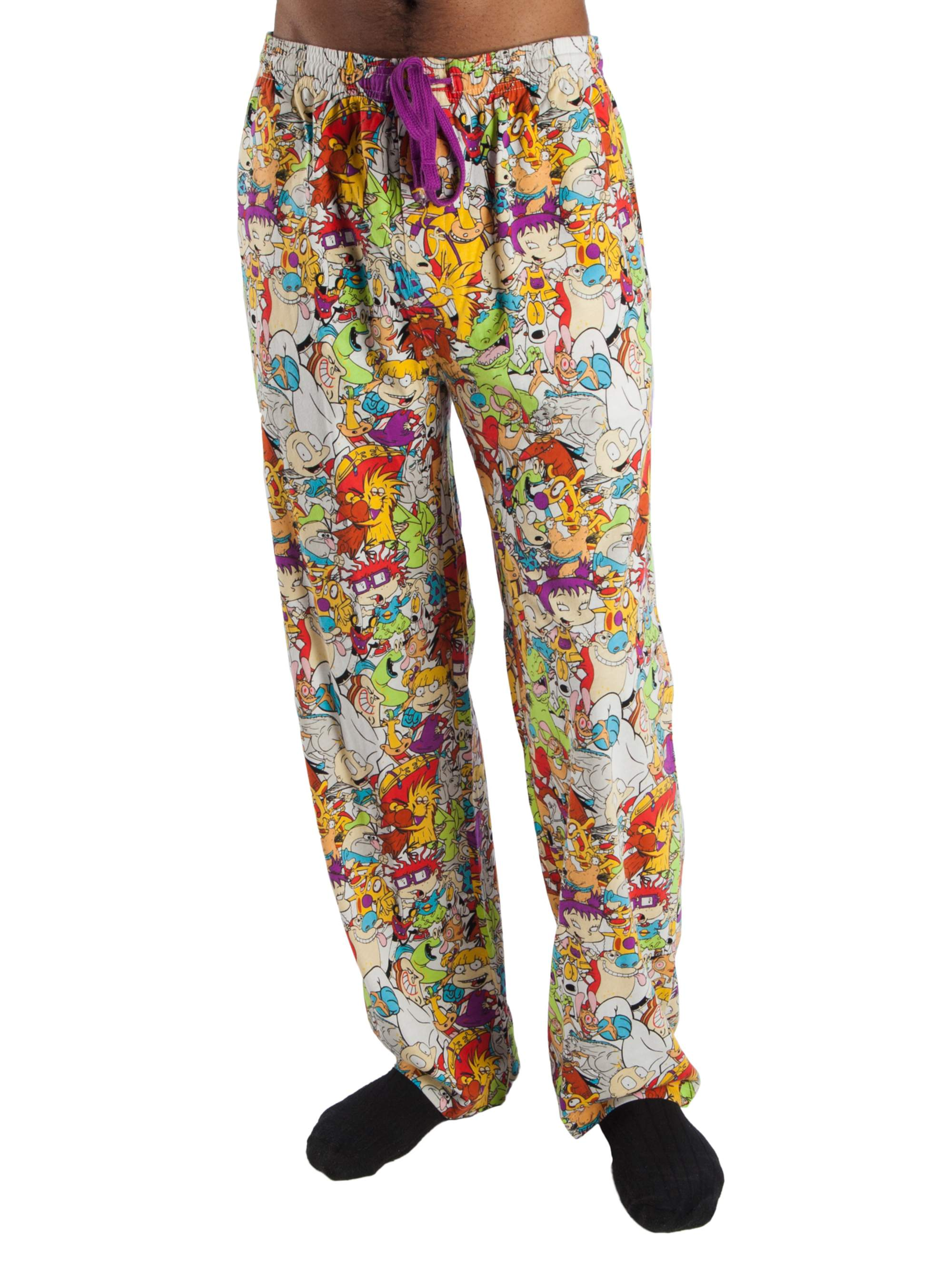 Men's 90's Cartoon Character All Over Print Cotton Jersey Pajama Lounge Pants