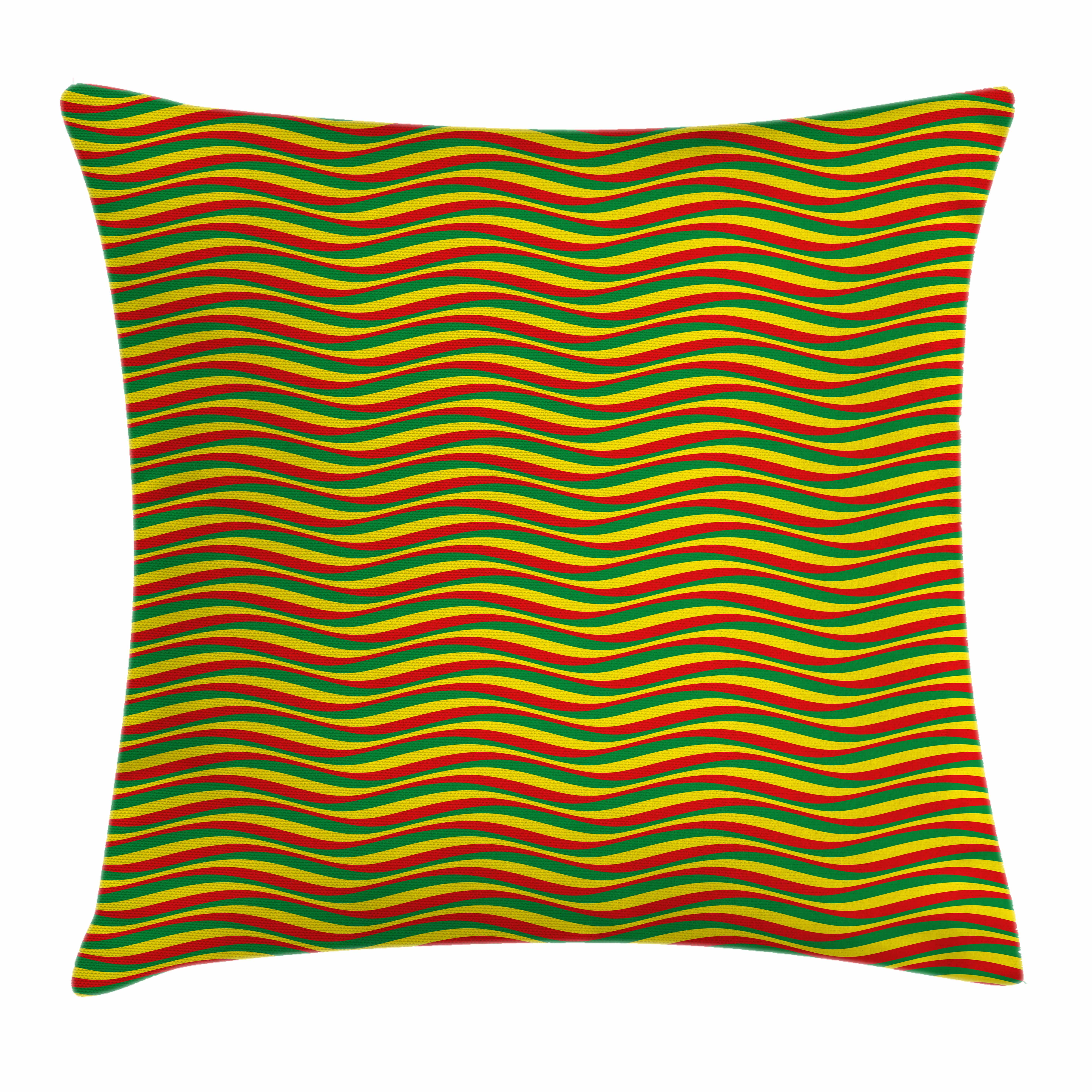 Rasta Throw Pillow Cushion Cover, Vivid Colors Ethiopian African Flag Colors in Wavy Style Stripes Image, Decorative Square Accent Pillow Case, 16 X 16 Inches, Marigold Green and Red, by Ambesonne