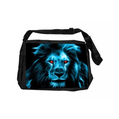Blue Fractal Lion With Red Eyes Black Laptop Shoulder Messenger Bag and Small Wire Accessories Case Set (Laptop Case Lion)
