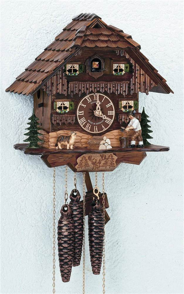 1-Day Black Forest House and Moving Wood Chopper Cuckoo Clock by Schneider Cuckoo Clocks