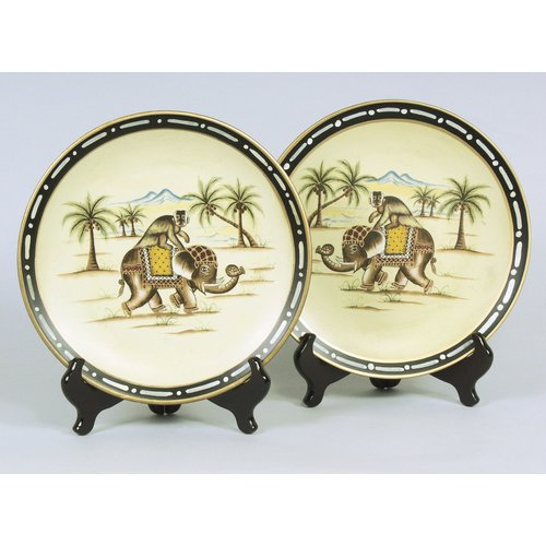 AA Importing 2 Piece Elephant on Monkey Plate Set with Stands by AA Importing