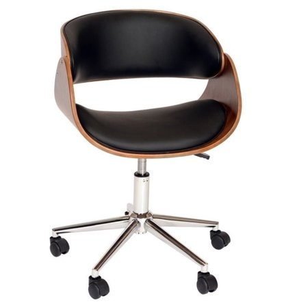 Amba Swivel Collection - Hawthorne Collection Faux Leather Swivel Office Chair in Black