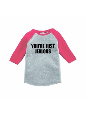 7 ate 9 Apparel Funny Kids You're Just Jealous Baseball Tee Pink - YOUTH MEDIUM (10-12)