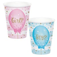 Club Pack of 96 White Gender Reveal Balloons Printed Hot and Cold Party Cups 5.5""