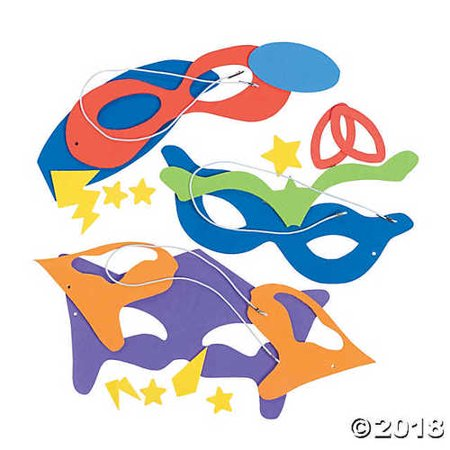 Superhero Masks Craft Kits (Makes 12) Self-Adhesive Foam Each 8 - Foam Superhero Mask