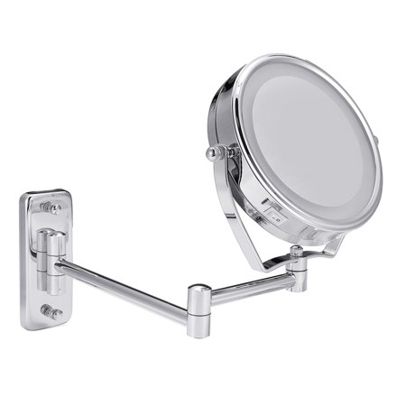 6'' LED Lighted Wall Mount Mirror Bathroom Shaving Makeup Cosmetic 7X Magnifying