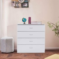 Dressers for Bedroom, Heavy Duty 4-Drawer Wood Chest of Drawers, Modern Storage Bedroom Chest for Kids Room, White Vertical Storage Cabinet for Bathroom, Closet, Entryway, Hallway, Nursery, L2028
