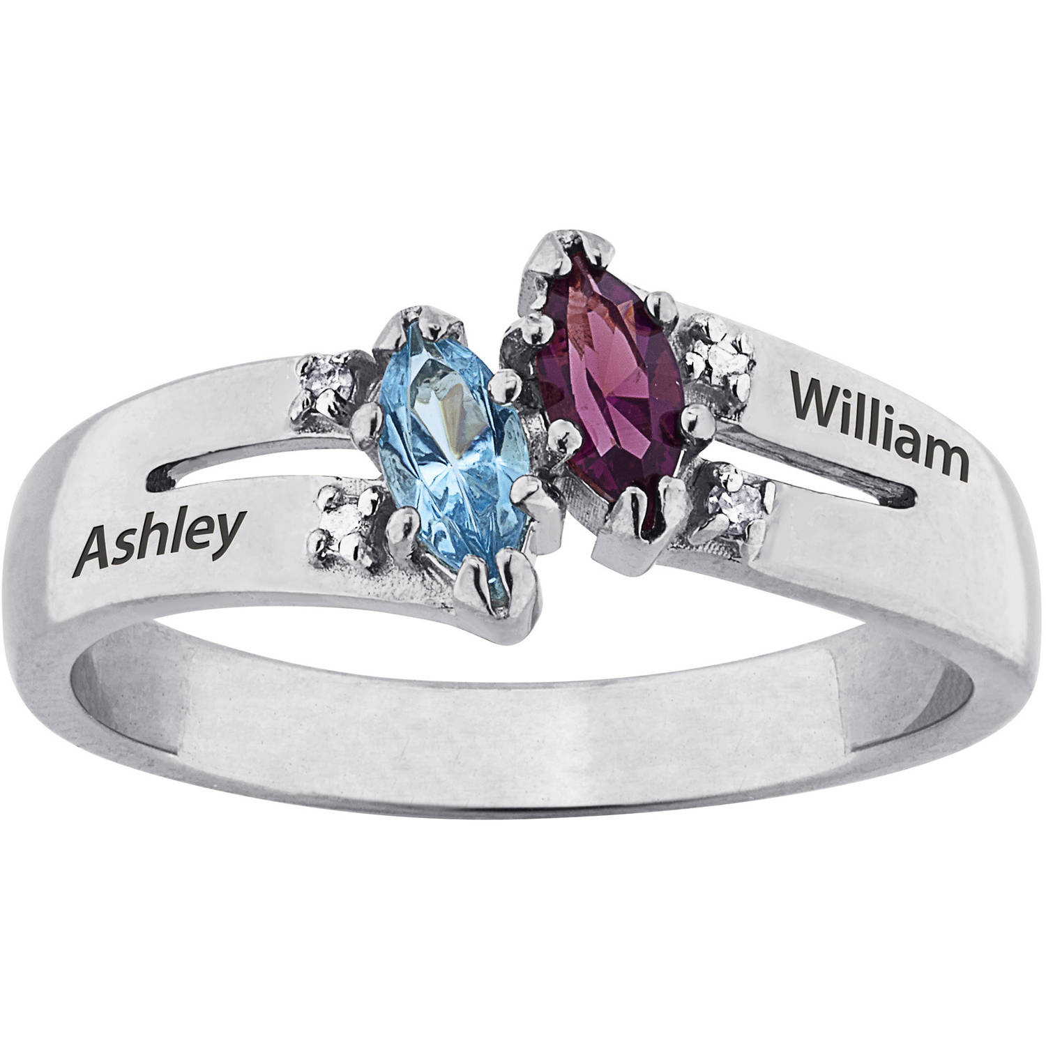 Personalized Sterling Silver Couples' Marquise Birthstone and Diamond Accent Ring