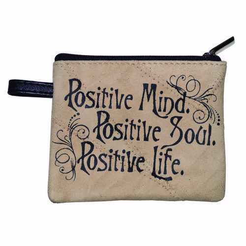 "Coin Purse-Leather-Positive Mind (4.75"" x 3.5"")"
