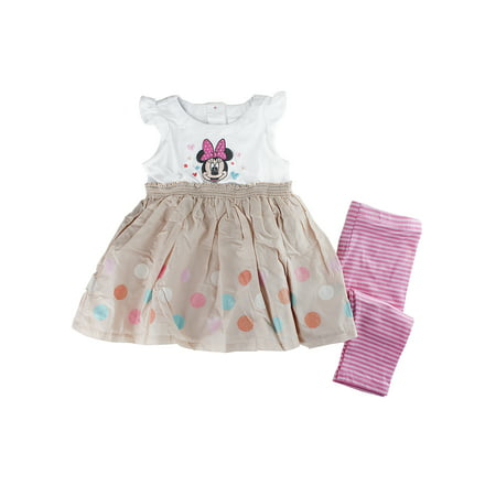 Disney Store Baby Girls Minnie Mouse Knit Dress & Leggings Set