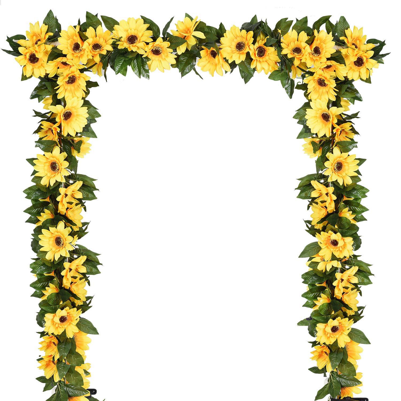 Coolmade 2 Pack Artificial Sunflower Garland Silk Sunflower Vine Artificial Flowers With Green Leaves Wedding Table Decor Walmart Com Walmart Com