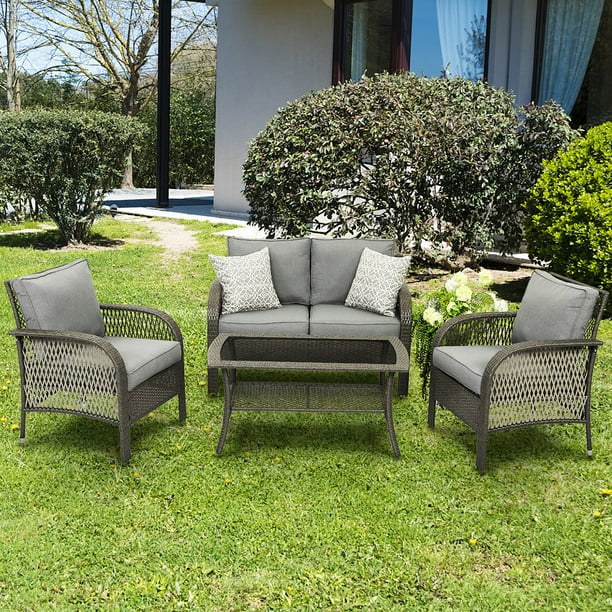 Outdoor Furniture Sets, 4 Piece Patio Wicker Conversation Set, Rattan Sofa with Coffee Table and Cushions, Gary