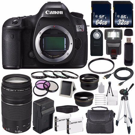 Canon EOS 5DS R DSLR Camera (International Model No Warranty) 0582C002 + Canon EF 75-300 III+ LP-E6 Replacement Battery + Charger + 64GB SDXC Card + 32GB SDHC Card + 58mm Macro Close Up Kit Bundle