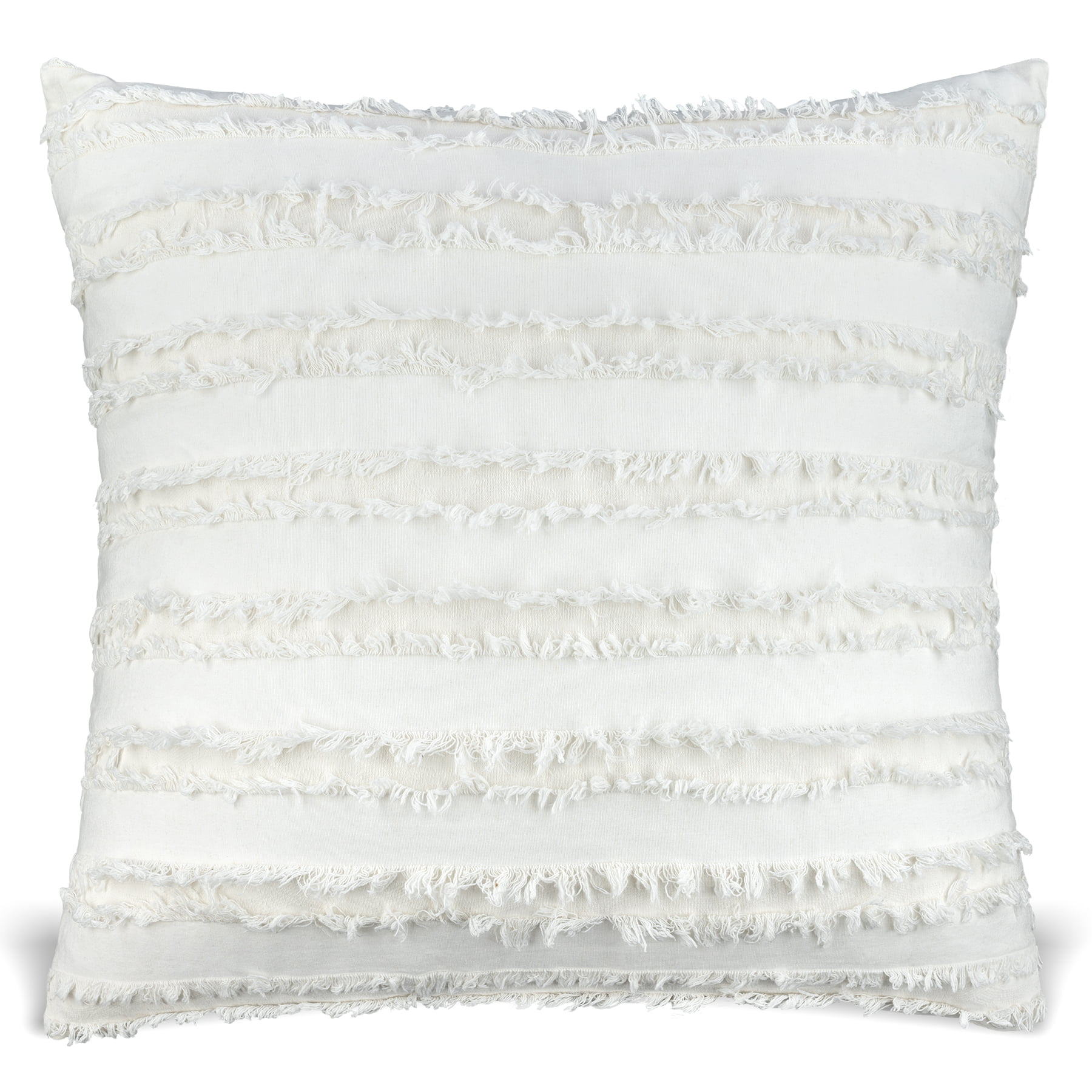Mauby Home Solid Cotton Washed Frayed Cream Boho 20in Square Pillow Throw Pillow For Bedroom Or Pillows For Couch Cream Walmart Com Walmart Com