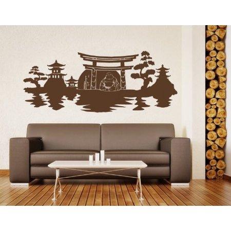 Asian Landscape with Buddha Meditating Wall Decal Buddhism religion Wa