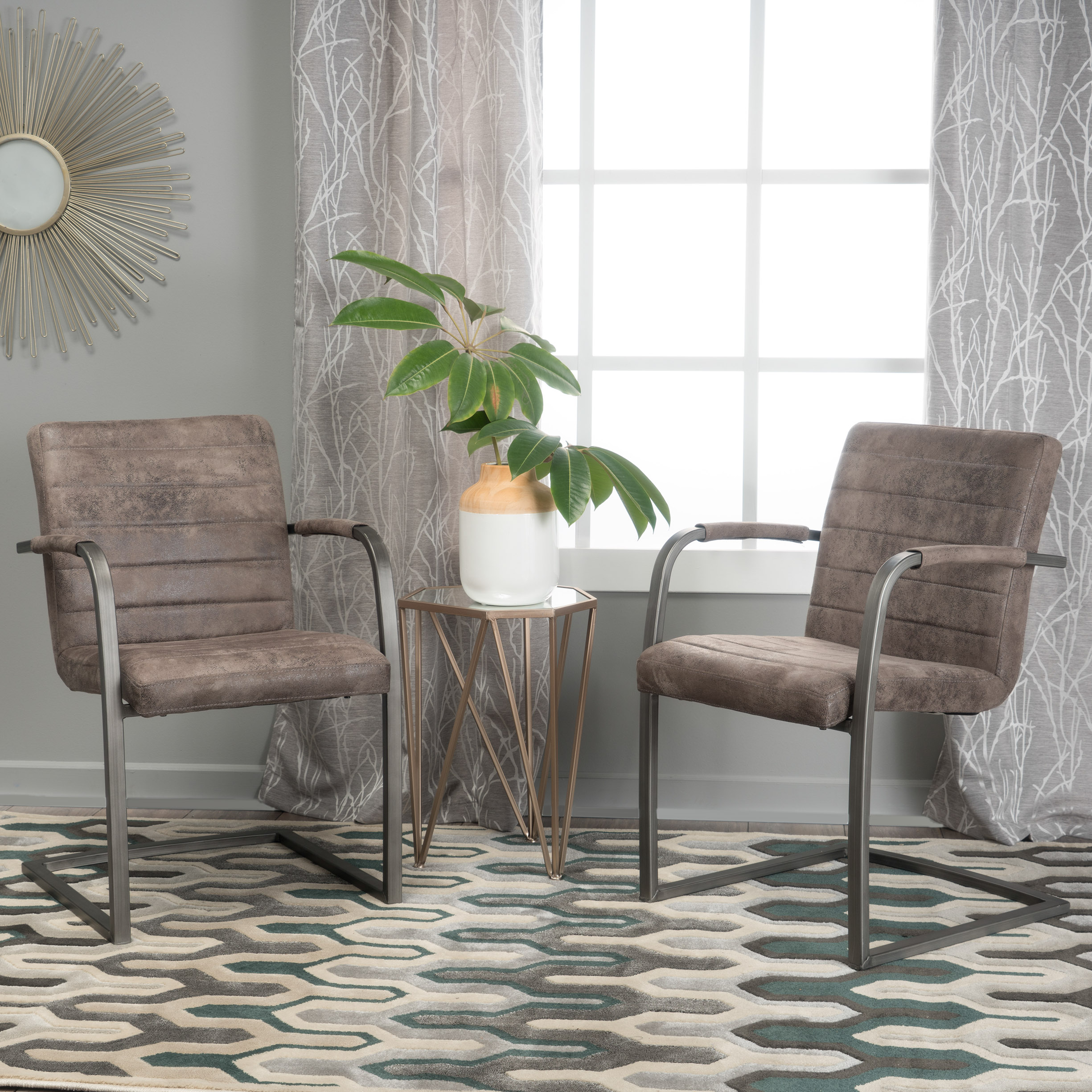 Noble House Harrison Greyish Brown Microfiber Modern Arm Accent Chairs (Set Of 2)