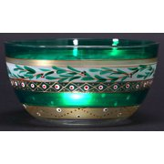 """Set of 2 Mosaic Christmas Garland and Stripes Hand Painted Glass Serving Bowl 6"""""""