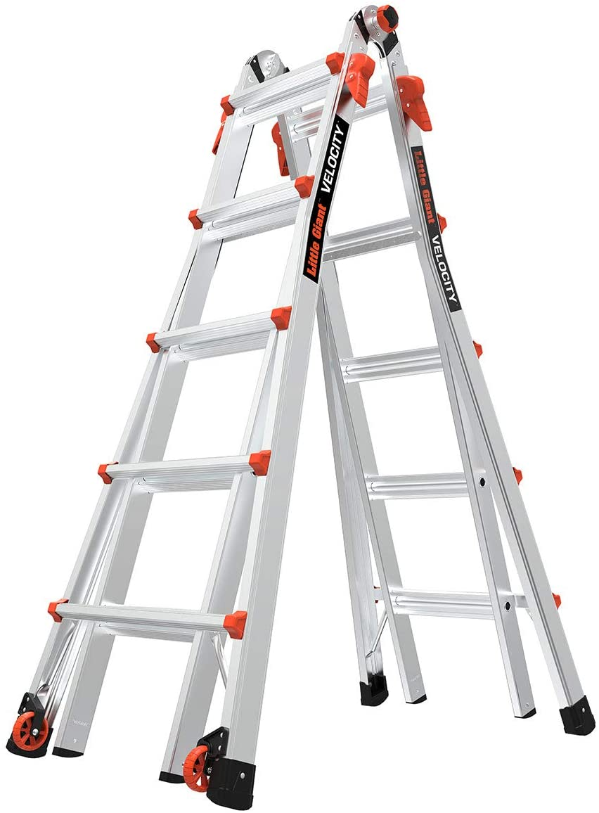 Little Giant Ladders, Velocity with Wheels, M221, 221 Ft, Multi Position  Ladder, Aluminum, Type 21A, 21 lbs weight rating, 2211 0021