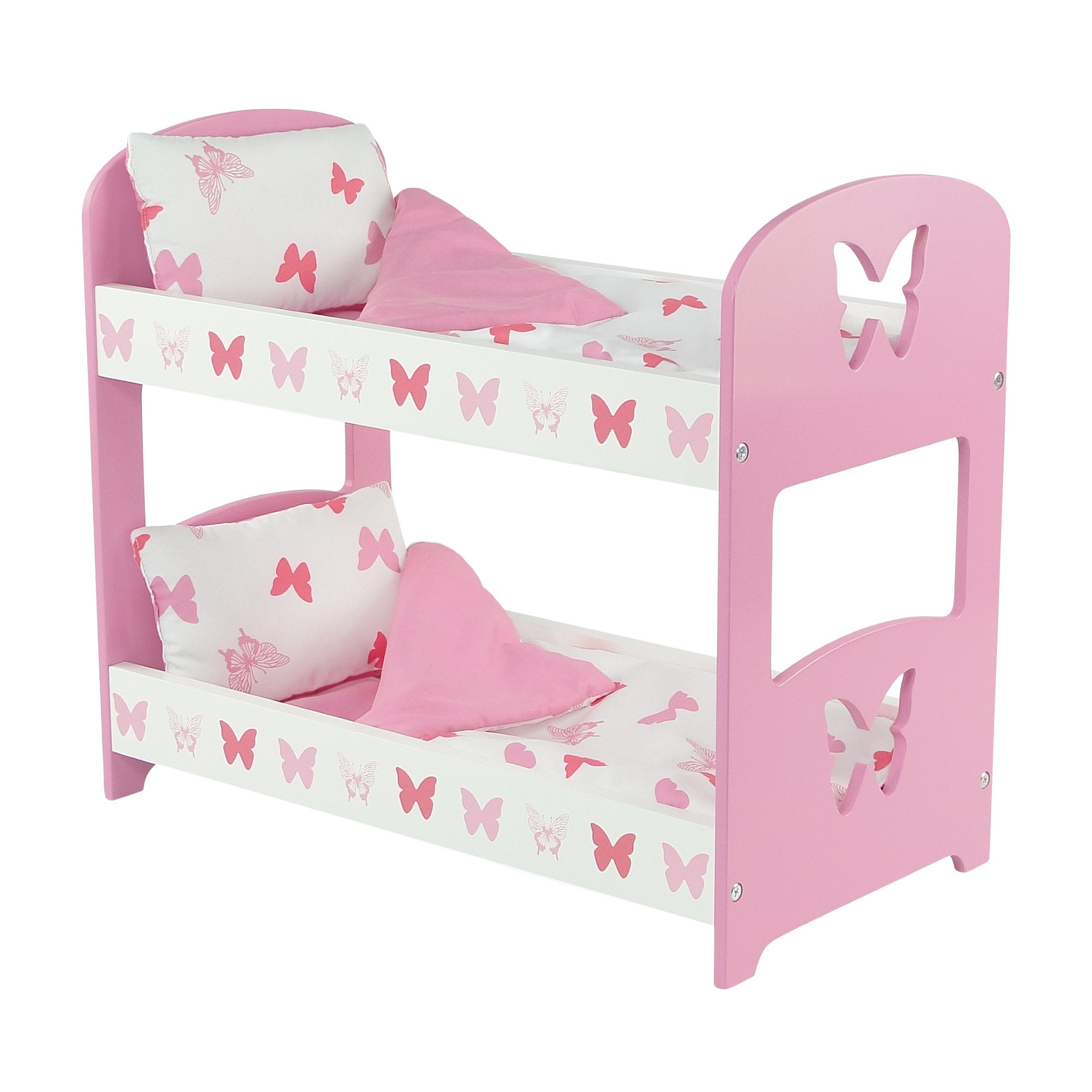 18 Inch Doll Furniture Lovely Pink And White Bunk Bed With
