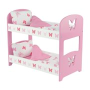 "Emily Rose Doll Bed - 18-inch Doll Bunk Bed Furniture with Butterfly Details, Includes Bedding | Fits 18"" American Girl Dolls"