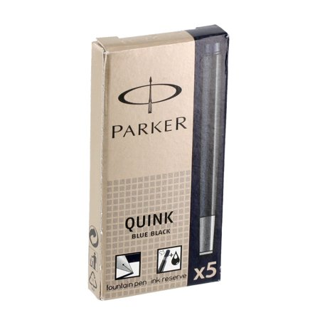 Parker Pen Company  Quink Refill Cartridge for Permanent Ink Fountain Pens, Blue/Black Ink, 5/Pack - Fountain Pen Cartridge