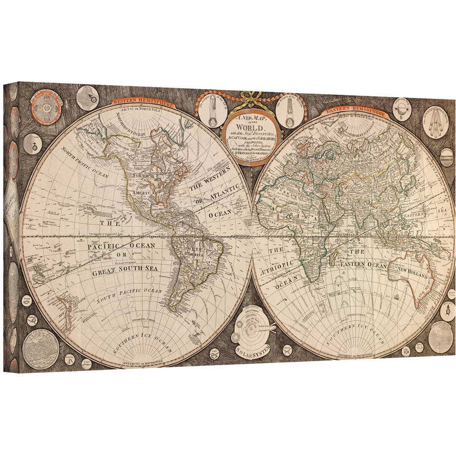 "Jean Baptiste Nolin ""A New Map Of The World"" Gallery-Wrapped Canvas"