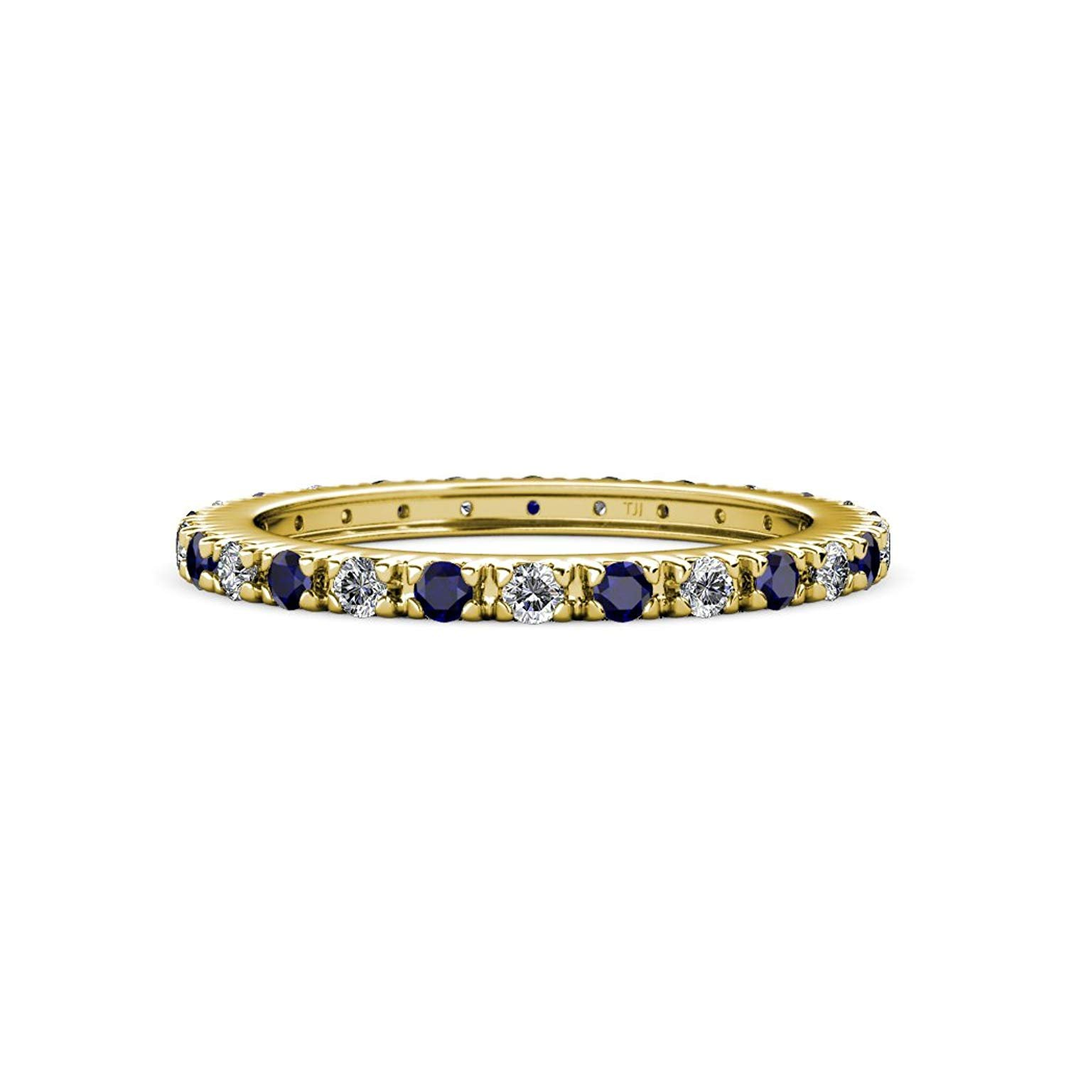 Blue Sapphire & Diamond 2mm French Set Eternity Band 0.71 to 0.86 Carat tw in 14K Yellow Gold.size 7.0 by TriJewels
