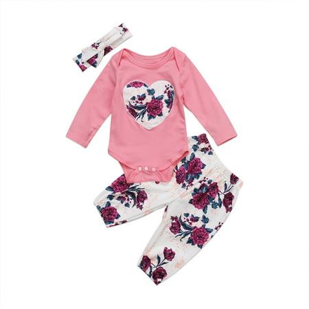 Cute Winter Floral Baby Clothes Set Infant Newborn Girl Romper+Pants Jumpsuit Bodysuit Outfit 0-24M