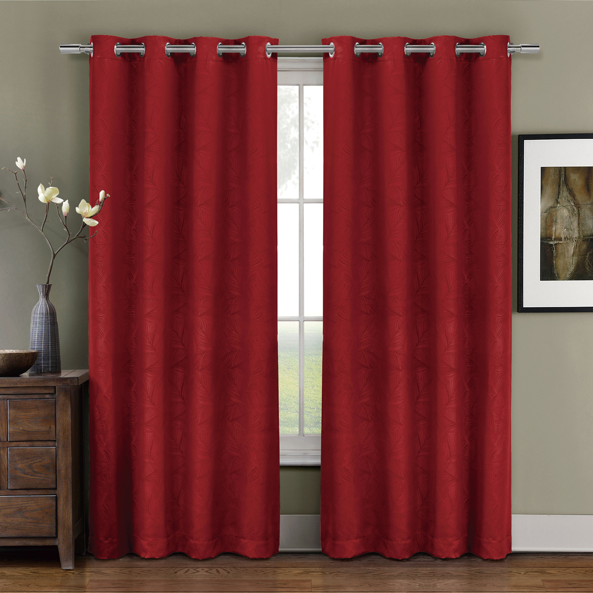 Prairie Blackout Weave Embossed Grommet Curtains Panels Leafy designs Embossed (Single) - 52x63 - Red
